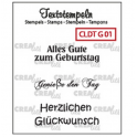 Crealies Clearstamp Text (DE) Geburtstag 01 max 33mm