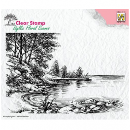 Nellie`s Choice Clear Stamps idyllic floral Baum mit Bank IFS007 100x100mm