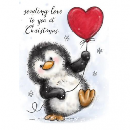 Wild Rose Studio`s A7 stamp set Penguin with Heart CL524