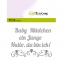 CraftEmotions Die TextCraftEmotions Die Text - Baby Hallo, da bin ich! (DE) Card 11x9cm - Winterglück (DE) Card 11x9cm
