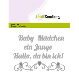 CraftEmotions Die Text - Baby Hallo, da bin ich! (DE) Card 11x9cm