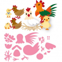 Marianne D Collectable Eline`s Huhn familie COL1429 14,5x20,5 cm