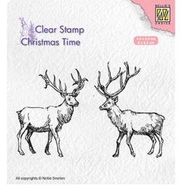 Nellies Choice Clearstempel Christmas time - zwei Rentiere CT028