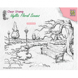 Nellies Choice clearstamp - Idyllic Floral Scenes Park mit Bank IFS016