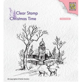 Nellies Choice Clearstempel - Christmas time - Kirche mit Rentier T027